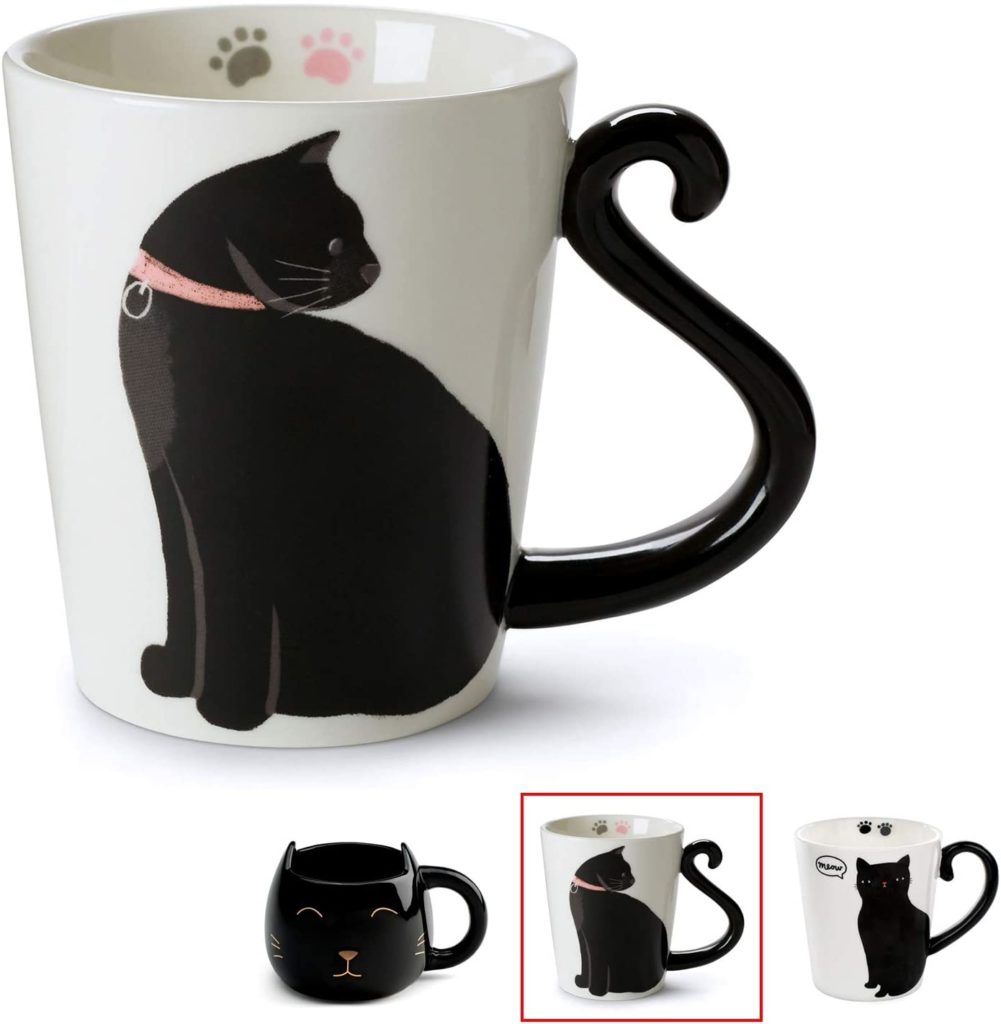 Cat with Tail Handle Coffee Mug