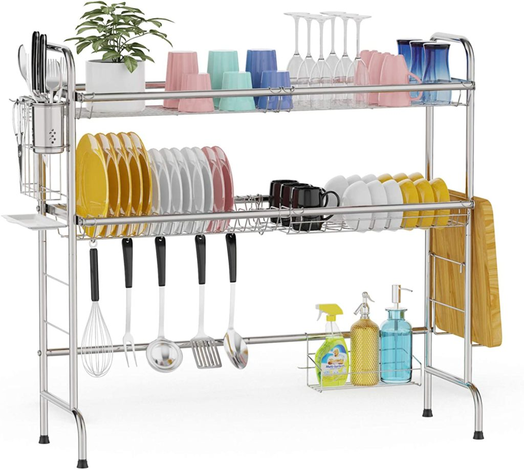 2-Tier Over Sink Dish Drying Rack - Best Extra Storage Space