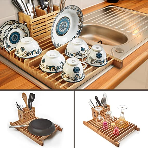 best bamboo over the sink dish drying rack