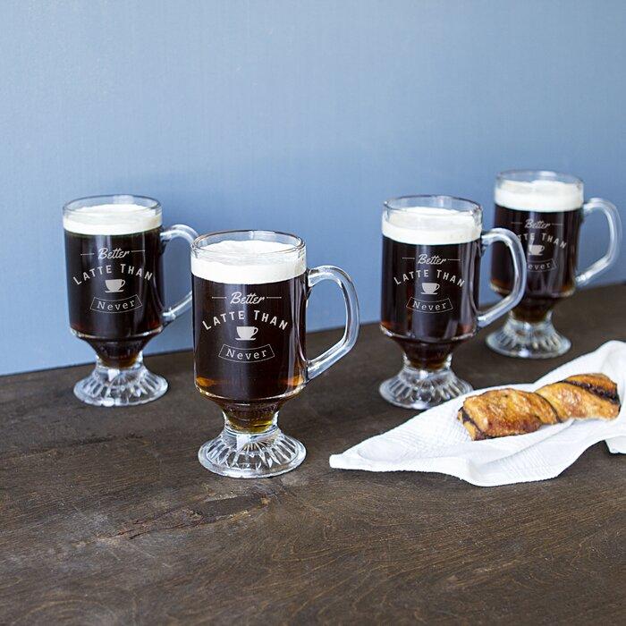 """Better Latte than Never"" Irish Coffee Mugs"
