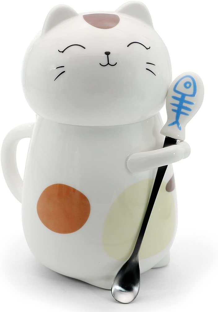Cat Coffee Mug with Stirring Spoon