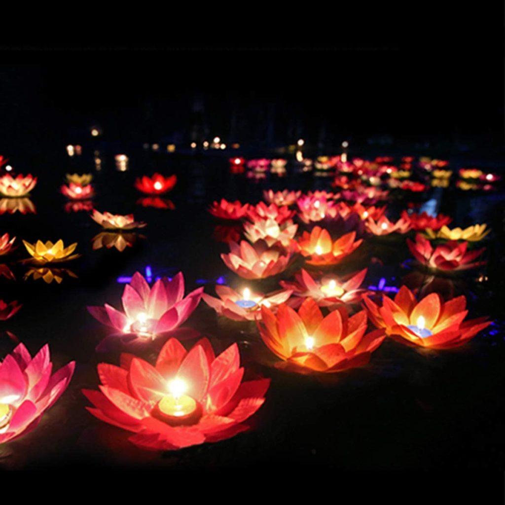 15pcs Floating Lotus Lights