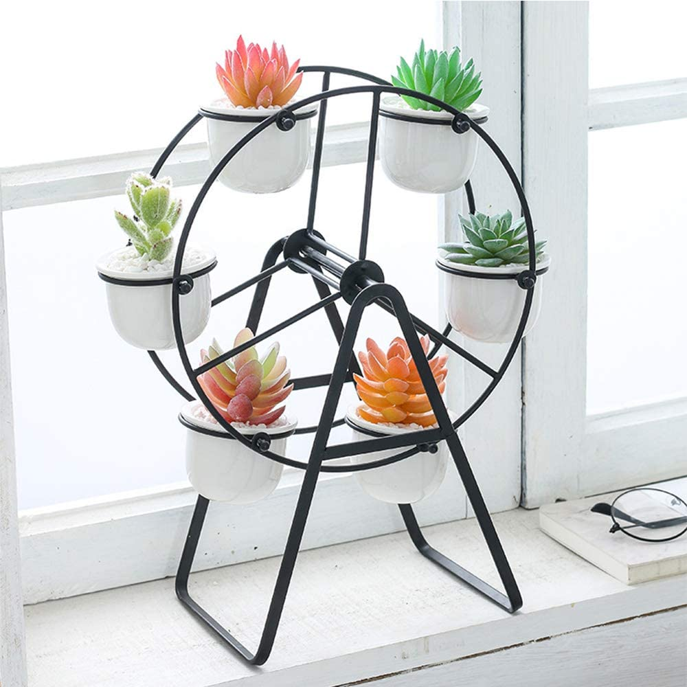 Ferris Wheel Planter with 6 Flower Pots