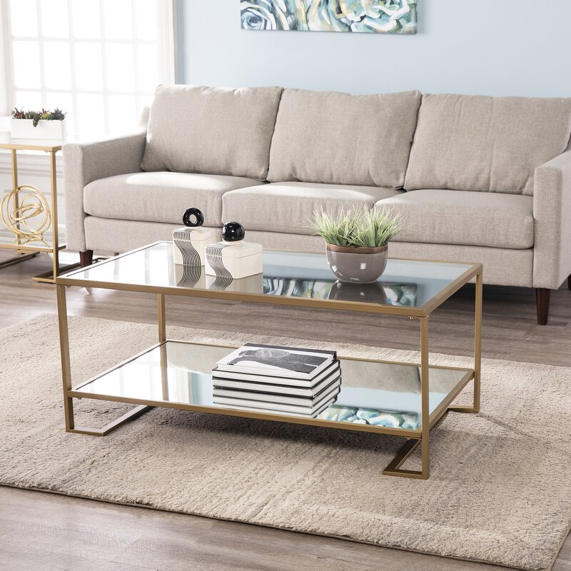 mirrored coffee table decor